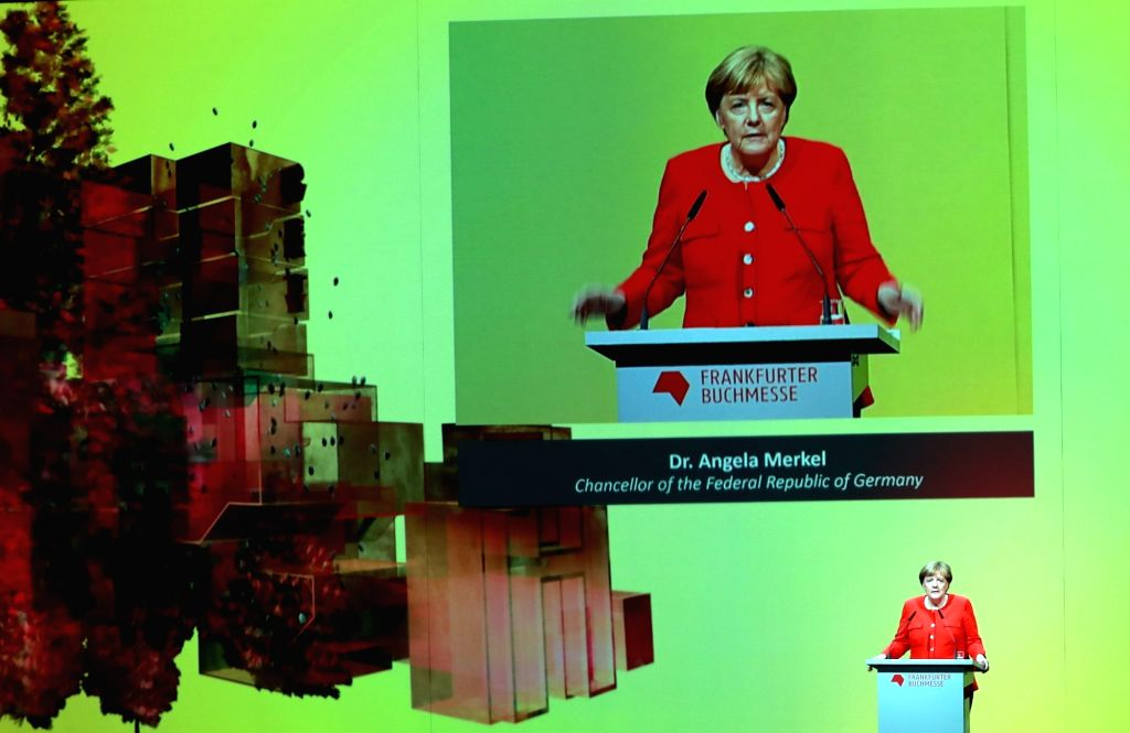 FRANKFURT, Oct. 10, 2017 - German Chancellor Angela Merkel delivers a speech at the opening ceremony of the 69th Frankfurt Book Fair in Frankfurt, Germany, on Oct. 10, 2017. German Chancellor Angela ...