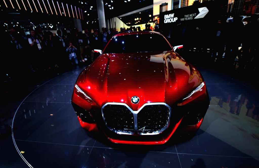 FRANKFURT, Sept. 11, 2019 - A BMW Concept 4 electric automobile is on display during the first press day of Germany's International Motor Show (IAA) 2019 in Frankfurt, Germany, on Sept. 10, 2019. ...