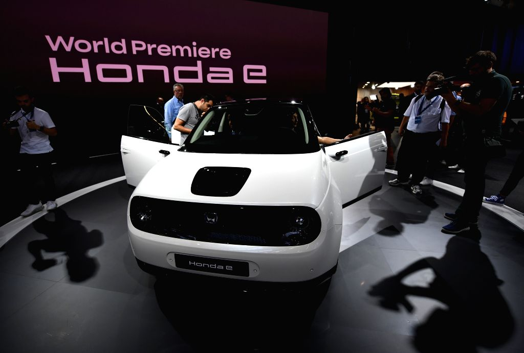 FRANKFURT, Sept. 11, 2019 - A Honda e electric car is on display during the first press day of Germany's International Motor Show (IAA) 2019 in Frankfurt, Germany, on Sept. 10, 2019. About 800 ...