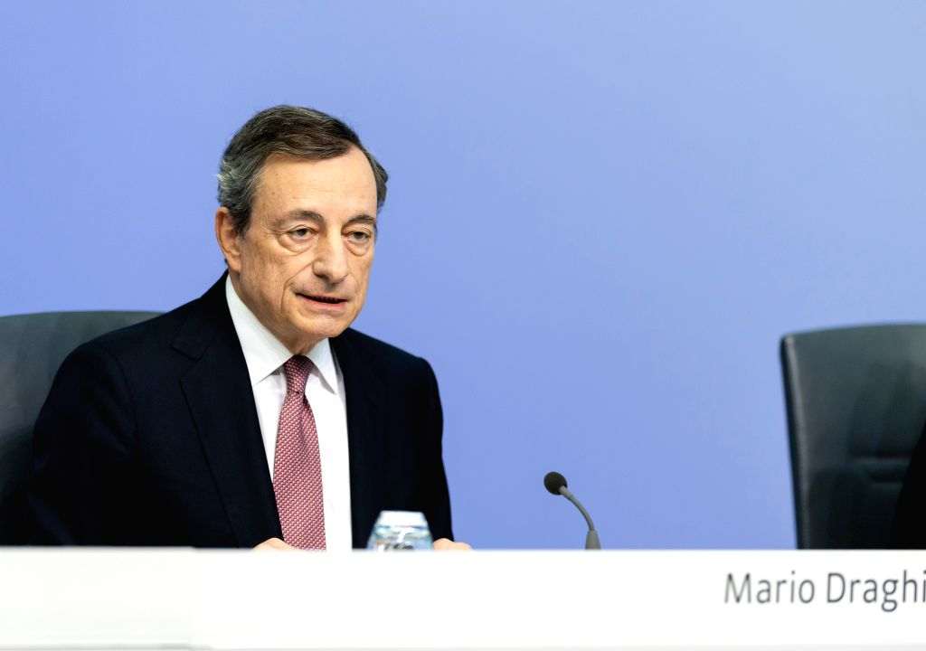 FRANKFURT, Sept. 12, 2019 - European Central Bank (ECB) President Mario Draghi speaks during a press conference at the ECB headquarters in Frankfurt, Germany, Sept. 12, 2019. The European Central ...