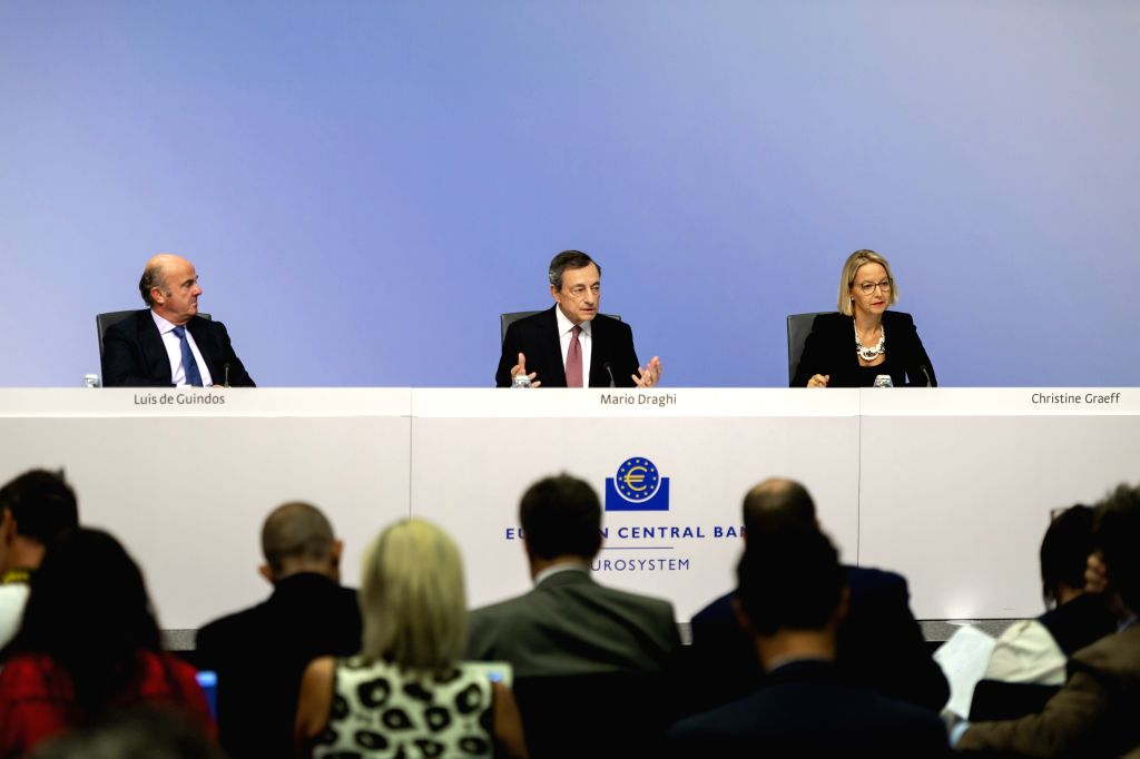 FRANKFURT, Sept. 12, 2019 - European Central Bank (ECB) President Mario Draghi (C) speaks during a press conference at the ECB headquarters in Frankfurt, Germany, Sept. 12, 2019. The European Central ...