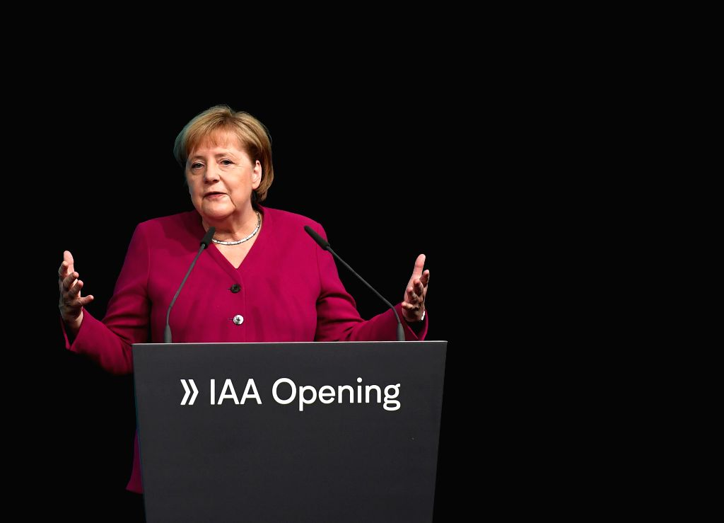 FRANKFURT, Sept. 12, 2019 (Xinhua) -- German Chancellor Angela Merkel addresses the opening ceremony of the International Motor Show (IAA) 2019 in Frankfurt, Germany, Sept. 12, 2019. Germany's International Motor Show (IAA) 2019 opened officially on