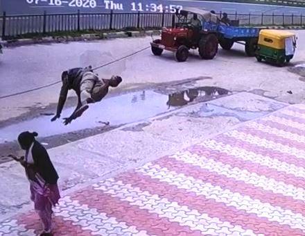 Freak accident in B'luru flings man across road on woman