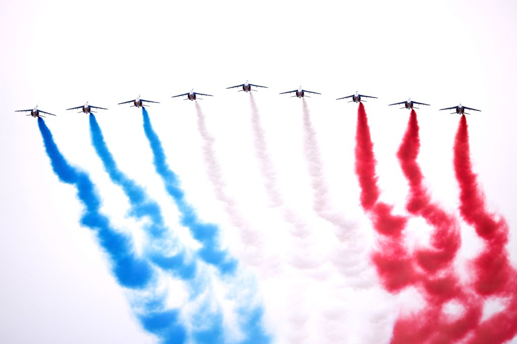French Air Force Patrouille de France is seen during the Bastille Day celebration at the Place de la Concorde in Paris, France, on July 14, 2020. Without the ...