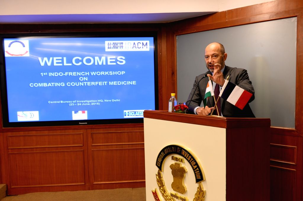 French Ambassador to India Francois Richier addresses during the inauguration of the Indo-French workshop on ``Combating Counterfeit Medicine`` in New Delhi on June 24, 2015.