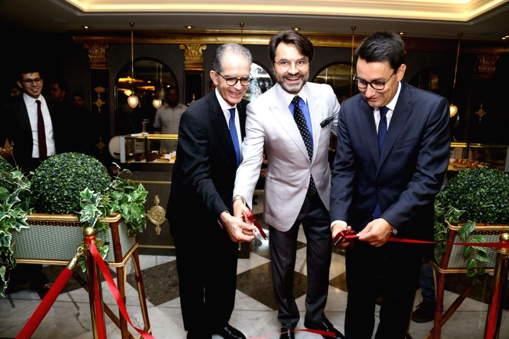 French Ambassdor to India Alexandre Ziegler, L'Opera Chairperson Kazem Samandari and International Development CEO Renaud Palliere at the launch of a salon in New Delhi on Oct 6, 2017.