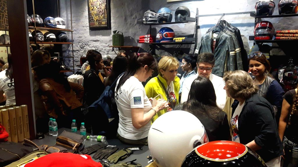 French and Indian riders at an exclusive gear store during flag off event of Girls Rides tour, in New Delhi on Feb 13, 2018.