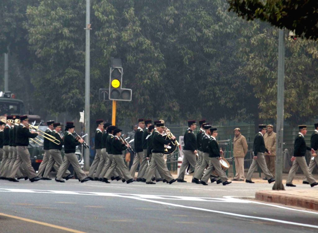 French Army band rehearses for Indian Republic Day parade at Rajpath in New Delhi on Jan 20, 2016.