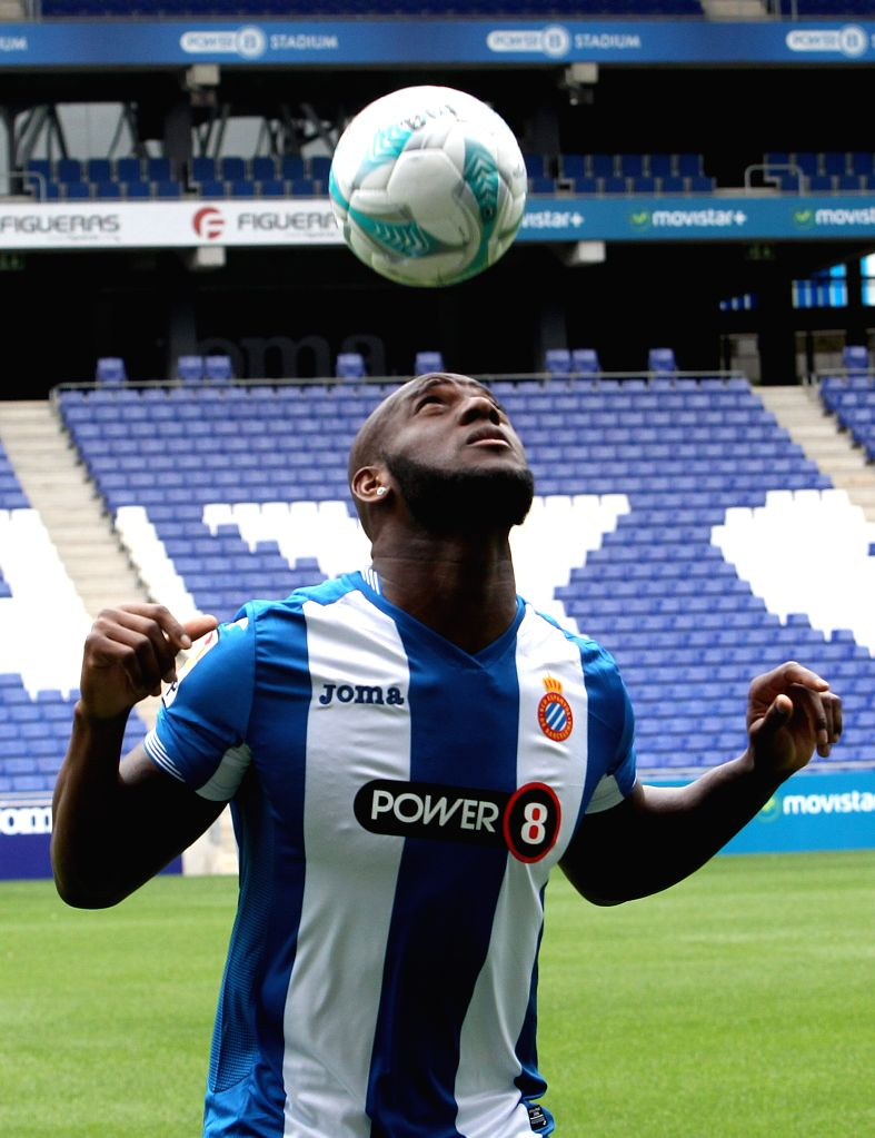 French defender Michael Ciani poses for photographers during his presentation as new player of Spanish Primera Division team Espanyol at Power8 Stadium in Cornella de Llobregat, Barcelona, ...