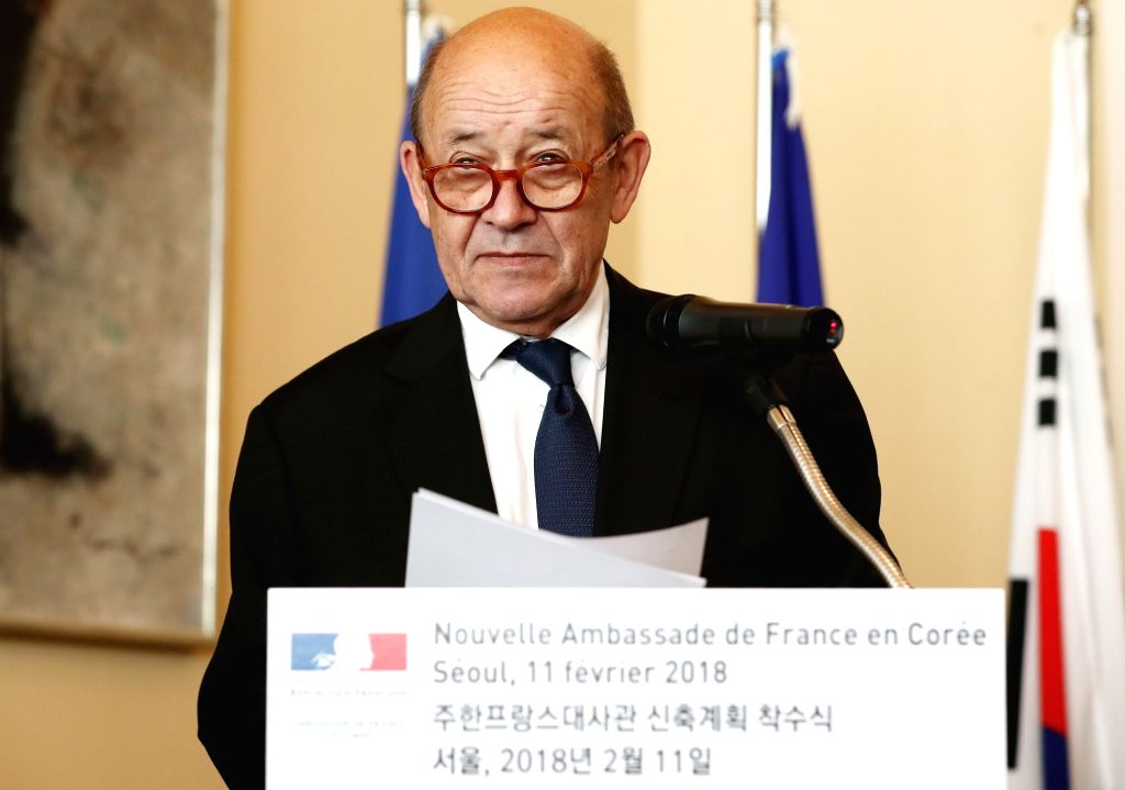 French Foreign Minister Jean-Yves Le Drian speaks during a ceremony at the French Embassy in Seoul on Feb. 11, 2018, to mark the launch of a project to modernize the embassy building, ... - Jean-Yves L