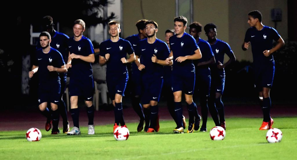 French players during a practice session at SAI grounds in Guwahati, on Oct 12, 2017. France is set to play against Honduras in a FIFA U-17 World Cup 2017 match om 14th October.