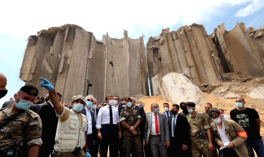 French President Emmanuel Macron visits the Port of Beirut in Beirut, Lebanon, on Aug. 6, 2020. (Dalati & Nohra/Handout via Xinhua/IANS)