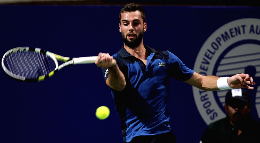 French Tennis player Benoit Paire in action against Guillermo Garcia-Lopez of Spain during the second round of men's singles for ATP Chennai Open 2014 in Chennai on Jan.2, 2014.