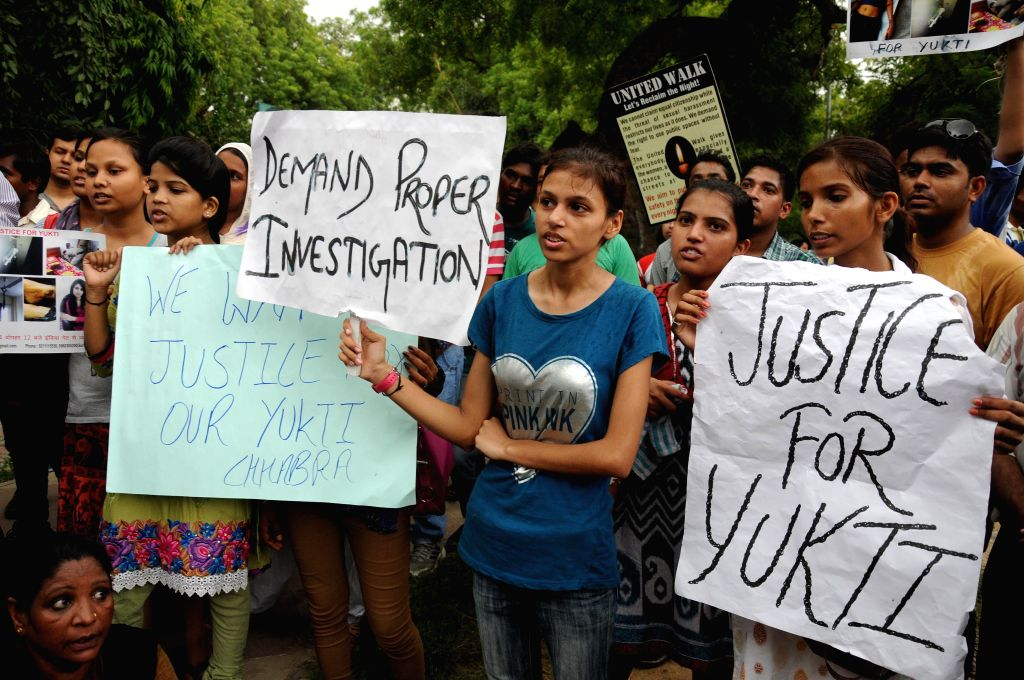 Friends and relatives of 18-year-old Delhi girl who allegedly committed suicide demonstrate to demand proper probe in the case in New Delhi on July 13, 2014. The girl was doing bachelor in nursing ...