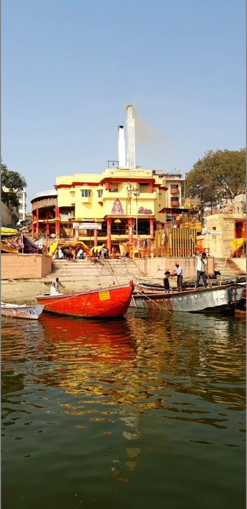 From Benaras to Prayag, it is a Sangam of Faith. A view of boats anchored on the banks of the Ganaga river.