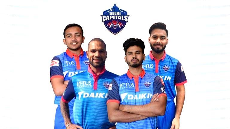 (FROM L-R) Delhi Capitals' Prithvi Shaw, Shikhar Dhawan, Captain Shreyas Iyer And Rishabh Pant Pose in the new official jersey. - Shreyas Iyer And Rishabh Pant Pose and Shikhar Dhawan