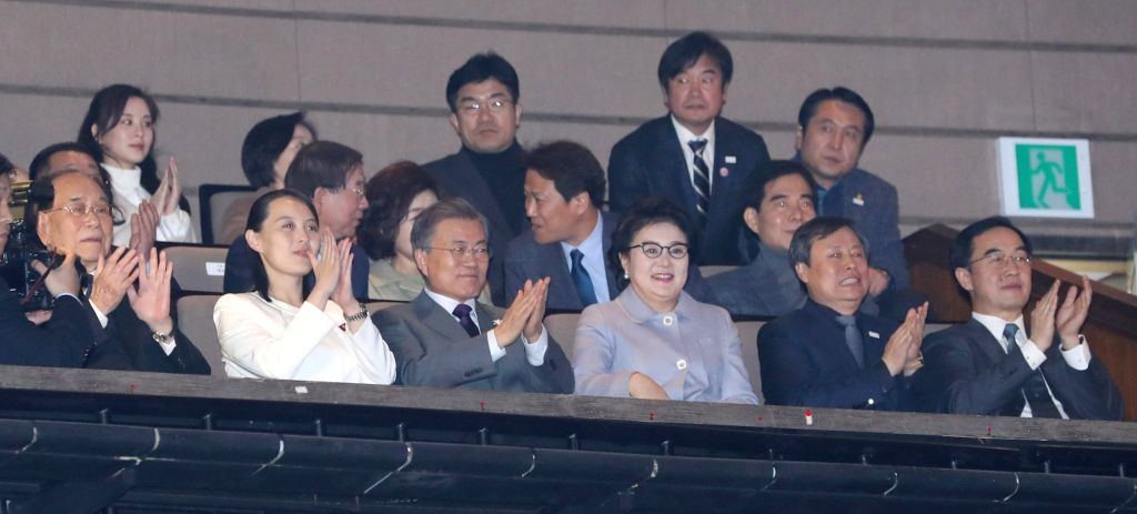 (From L to R, front) Kim Yong-nam, president of North Korea's Presidium of the Supreme People's Assembly, North Korean leader Kim Jong-un's sister and special envoy Kim Yo-jong, South Korean ... - D
