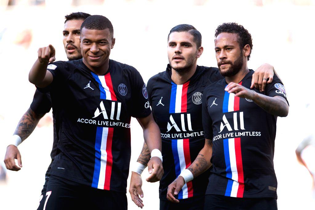 (From L to R) Pablo Sarabia, Kylian Mbappe, Mauro Icardi and Neymar of Paris Saint Germain celebrate during a friendly football match between Paris Saint Germain ...