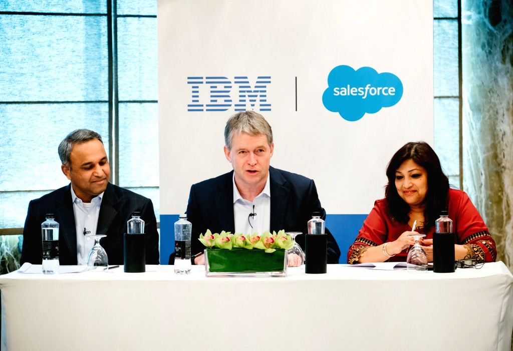 From left, Sunil Jose, SVP and Country er, Salesforce; IBM Senior Vice President Global Business Services (GBS) Mark Foster and Lula Mohanty, Managing Partner (GBS) at IBM, at 'Think Forum' in ...