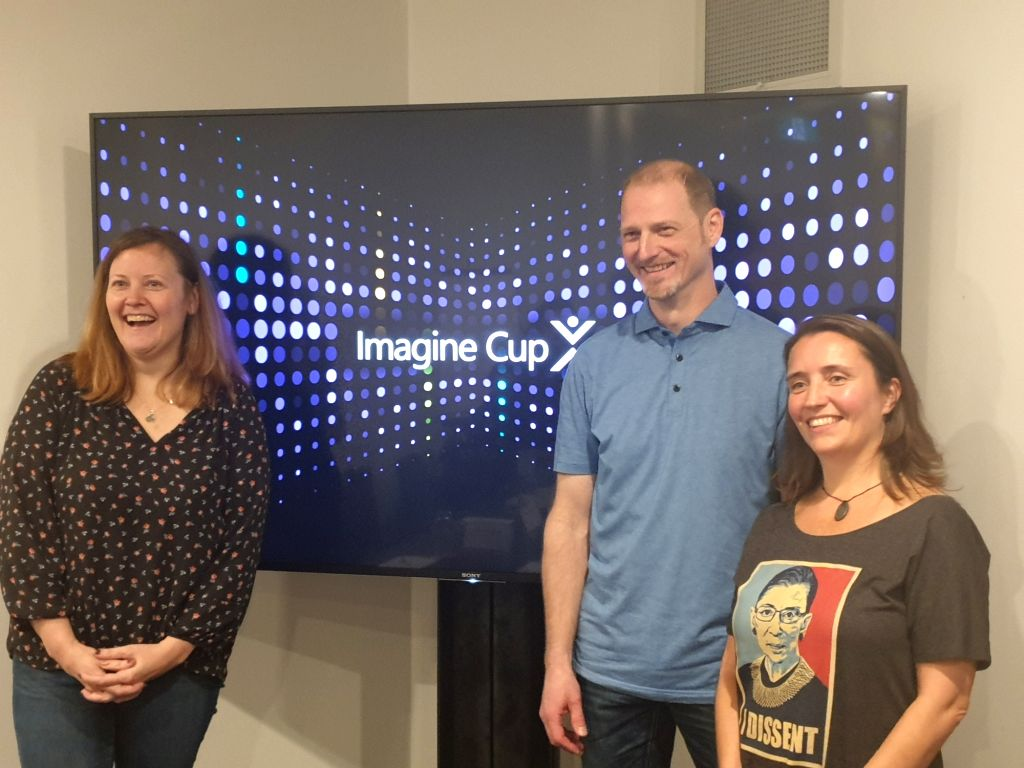 From right, Annie Parker, Global Head of Microsoft for Startups; Keith Loeber, Director in Academic Ecosystems at Microsoft and Jennifer Ritzinger, Senior Director, Academic Ecosystems and Reactors, Microsoft, at Imagine Cup 2019 in Sydney on Februar