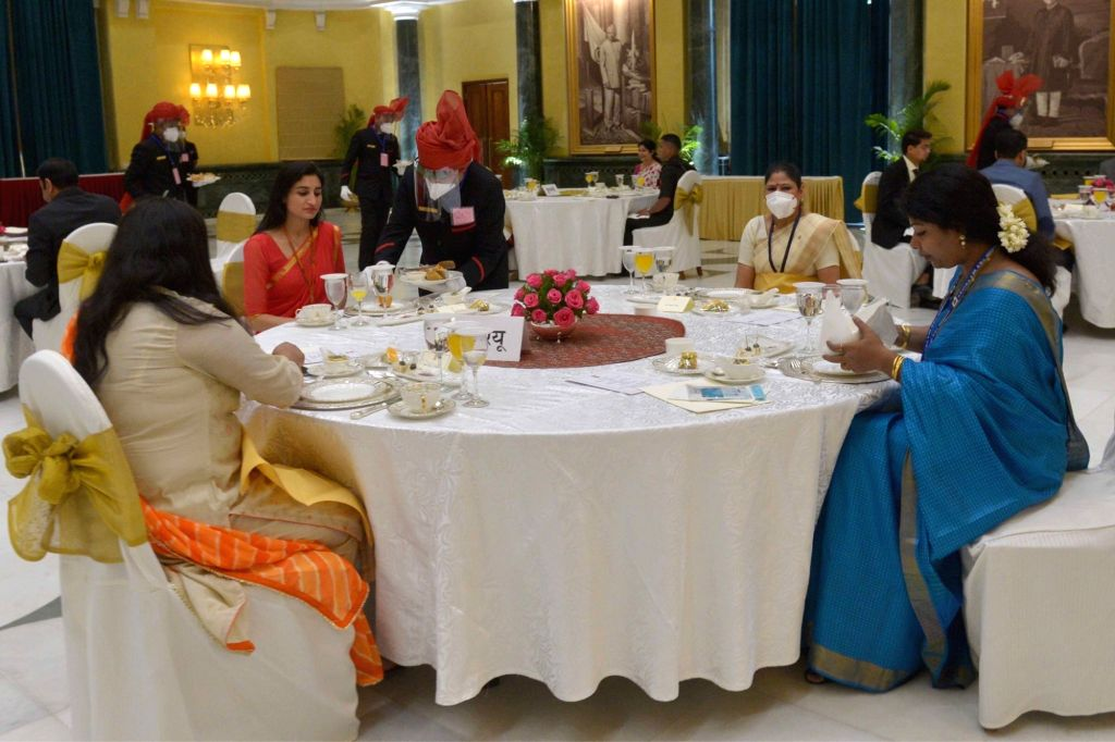 Frontline Corona Warriors working in Delhi who were invited as special guests during the 'At Home' reception hosted by President Ram Nath Kovind on the 74th Independence Day, at ... - Nath Kovind