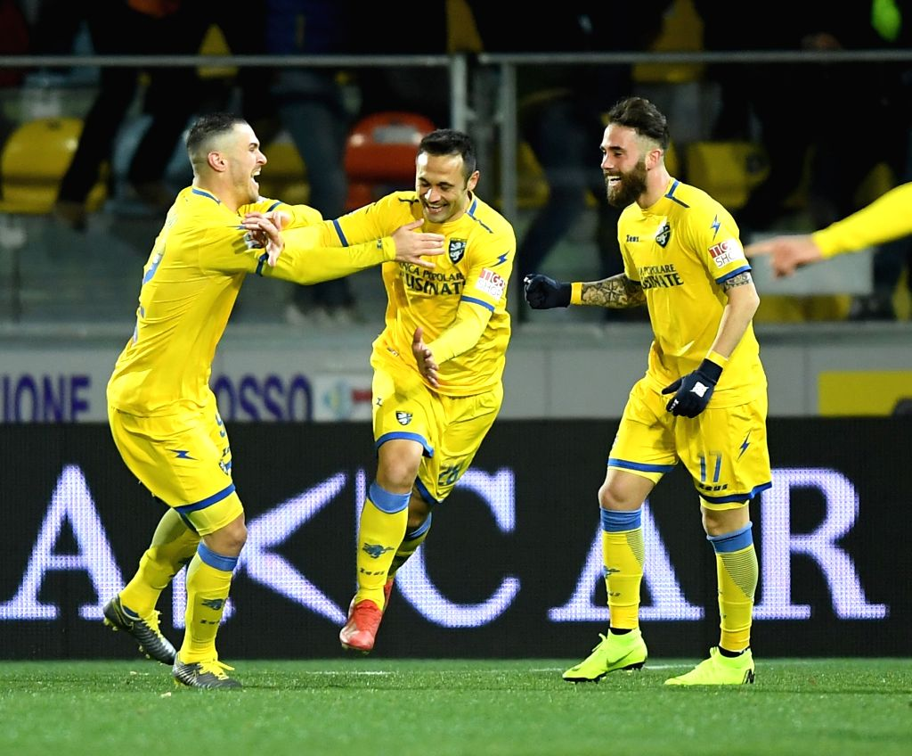 FROSINONE, Feb. 24, 2019 - Frosinone's Camillo Ciano (C) celebrates his goal with his teammates during a Italian Serie A soccer match between Frosinone and Roma in Frosinone Italy, Feb. 23 , 2019. ...