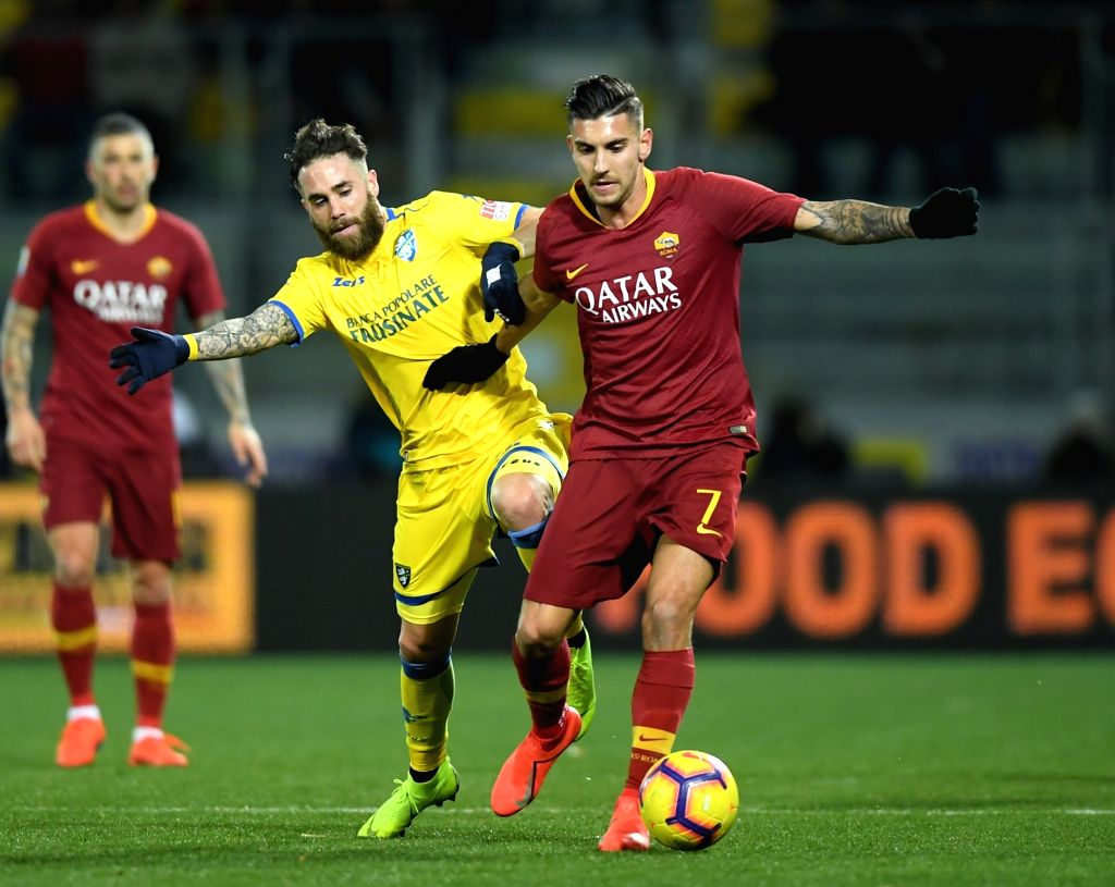 FROSINONE, Feb. 24, 2019 - Roma's Lorenzo Pellegrini (R) vies with Frosinone's Francesco Zampano during a Italian Serie A soccer match between Frosinone and Roma in Frosinone Italy, Feb. 23 , 2019. ...