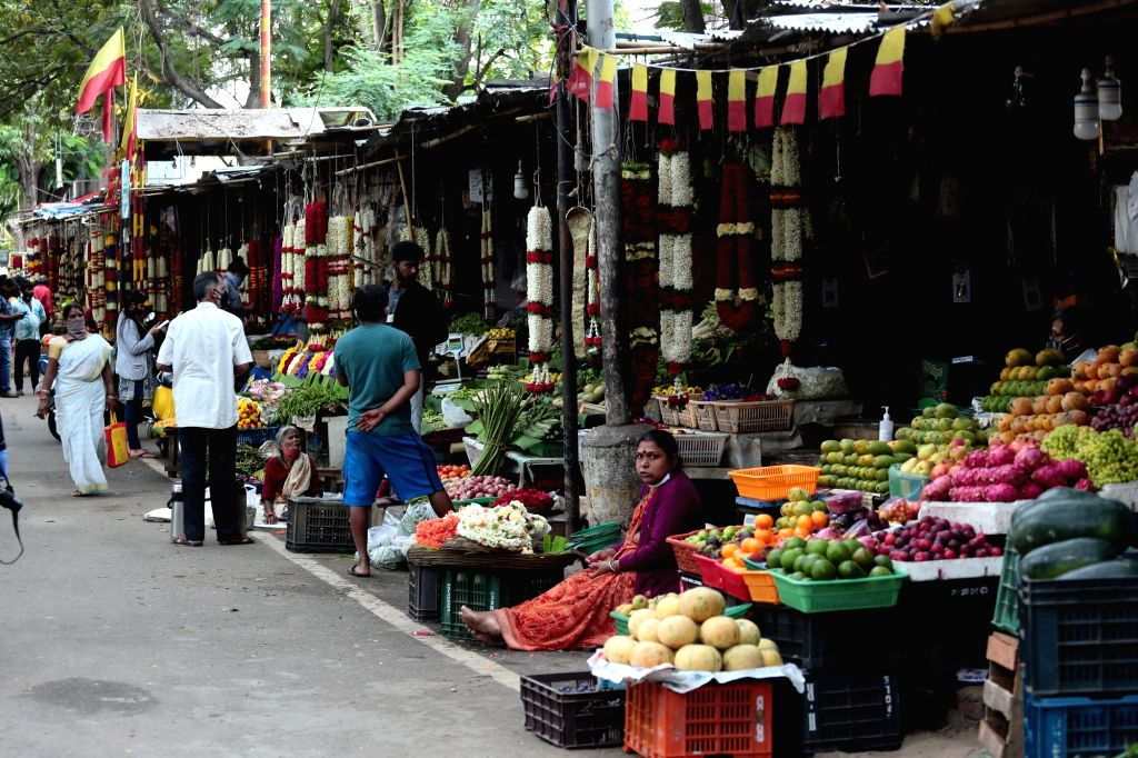 Fruits and flower shops remain opened during a re-imposed lockdown across the city till July 22 for containing the corona virus spread, on July 15, 2020.