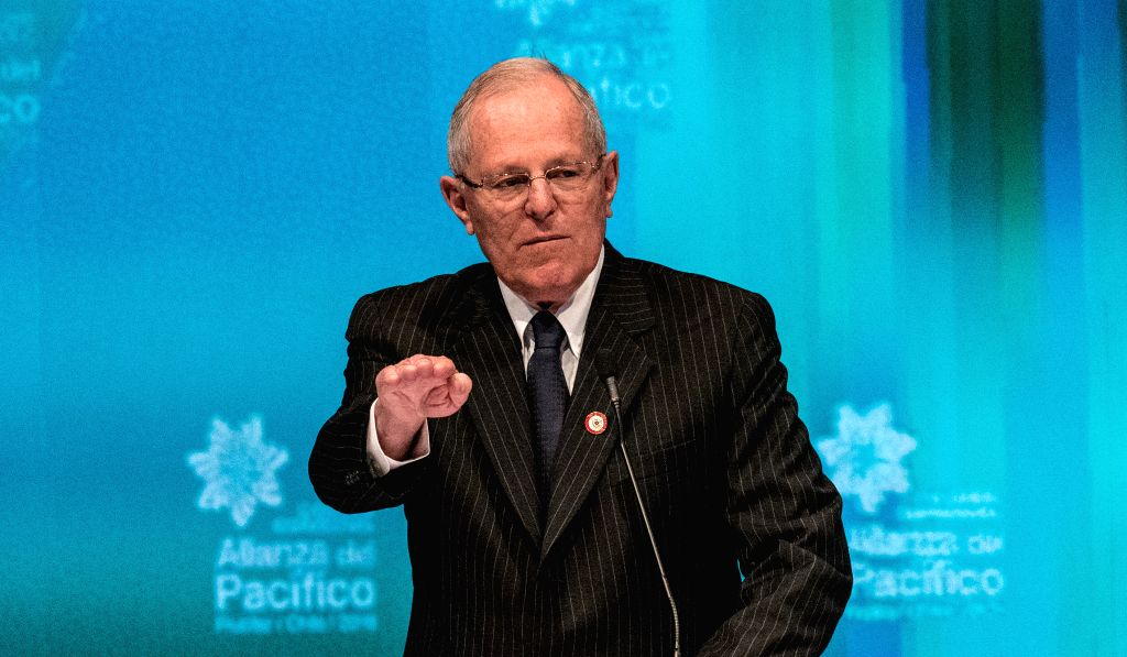 FRUTILLAR, July 1, 2016 - Peru's President-elect Pedro Pablo Kuczynski delivers a speech during the 3rd Pacific Alliance Business Summit in Frutillar City, Chile, on June 30, 2016.