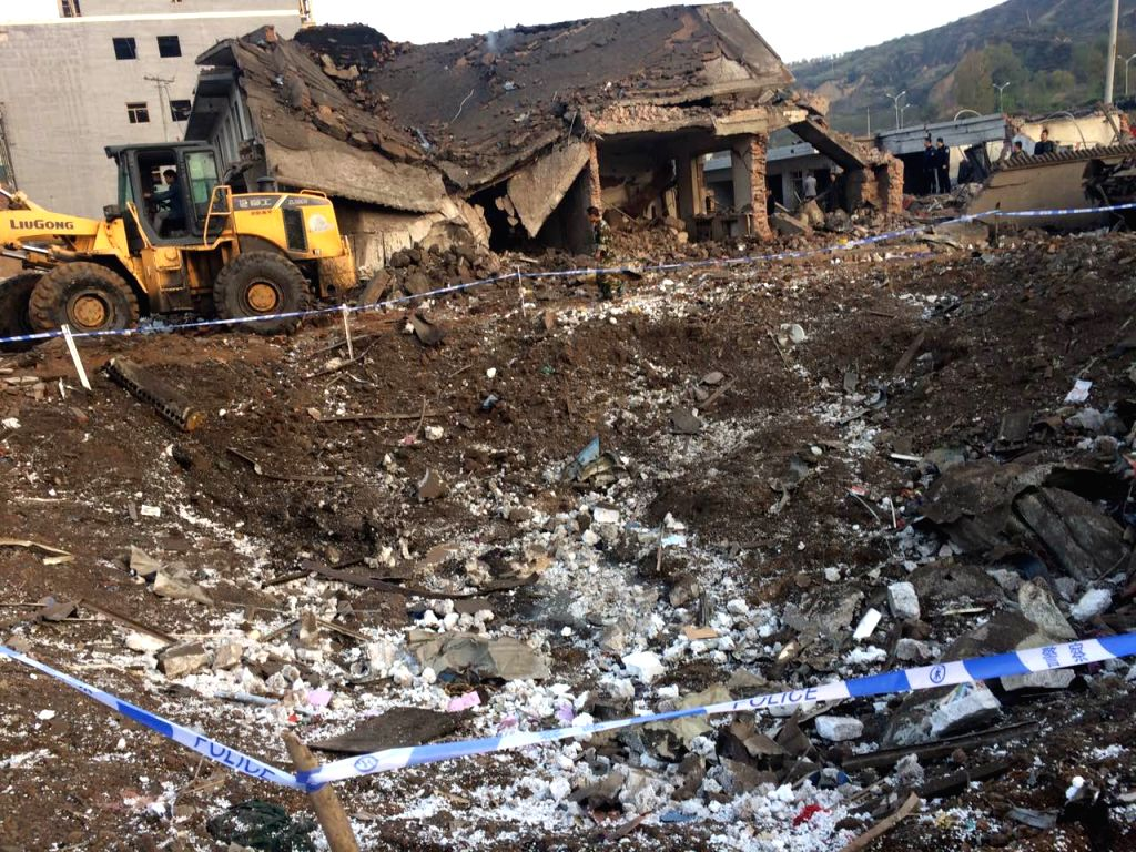 FUGU, Oct. 24, 2016 - The site after an explosion is seen in Fugu County in northwest China's Shaanxi Province, Oct. 24, 2016. At least six people were injured after an explosion in a building in ...
