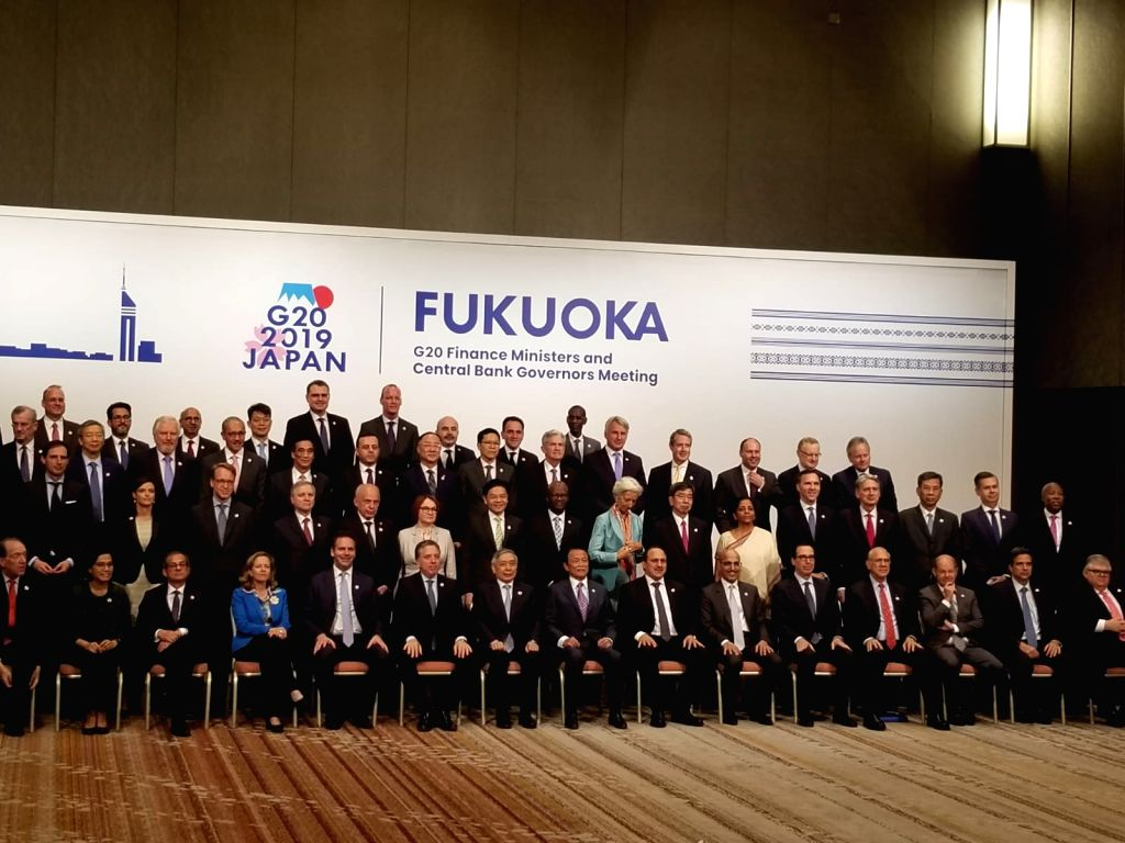 Fukuoka: Finance Minister Nirmala Sitharaman in a group photograph with Finance Ministers and Central Bank Governors of the G-20 countries at the G-20 Finance Ministers and Central Bank Governors' Meet in Fukuoka, Japan on June 9, 2019. (Photo: IANS/ - Nirmala Sitharaman