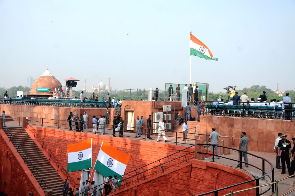 Full dress rehearsals for Independence day programme underway at the Red Fort in New Delhi, on Aug 13, 2015.