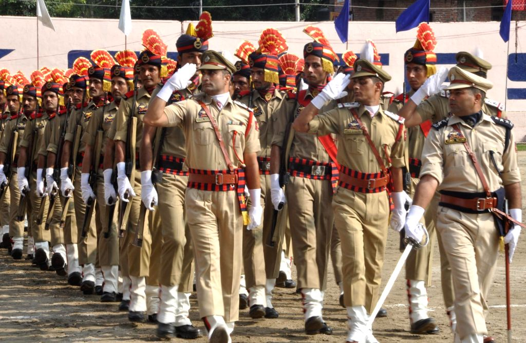 Full-dress rehearsals for Independence Day parade underway in Jammu, on Aug 13, 2015.