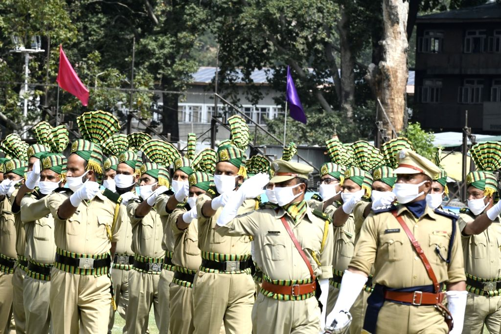 Full-dress rehearsals underway ahead of Independence Day parade 2020, at Sheri-i-Kashmir Cricket Stadium in Srinagar on Aug 13, 2020.