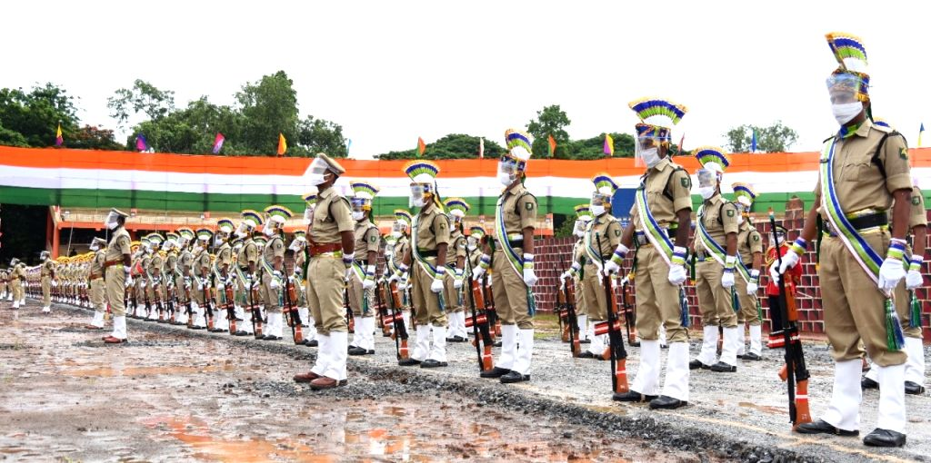 Full dress rehearsals underway on the eve of 74th Independence Day celebrations, at the Indira Gandhi Stadium in Vijayawada on Aug 14, 2020. - Indira Gandhi Stadium