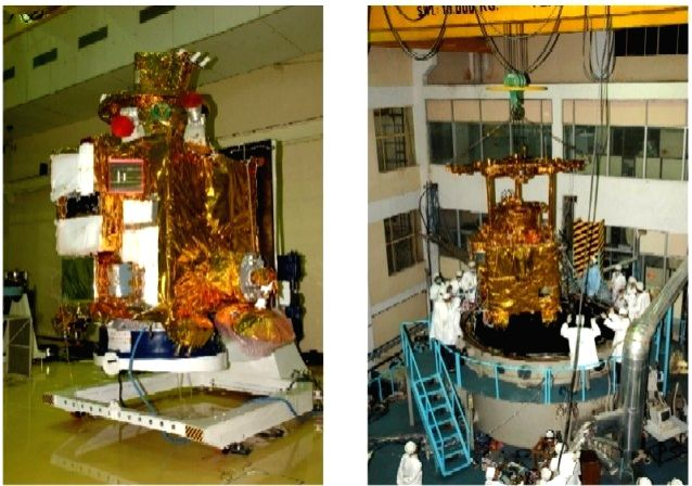 Fully integrated Chandrayaan-1 spacecraft (left) and loading it to Thermovac Chamber (right). (Photo: IANS/ISRO)