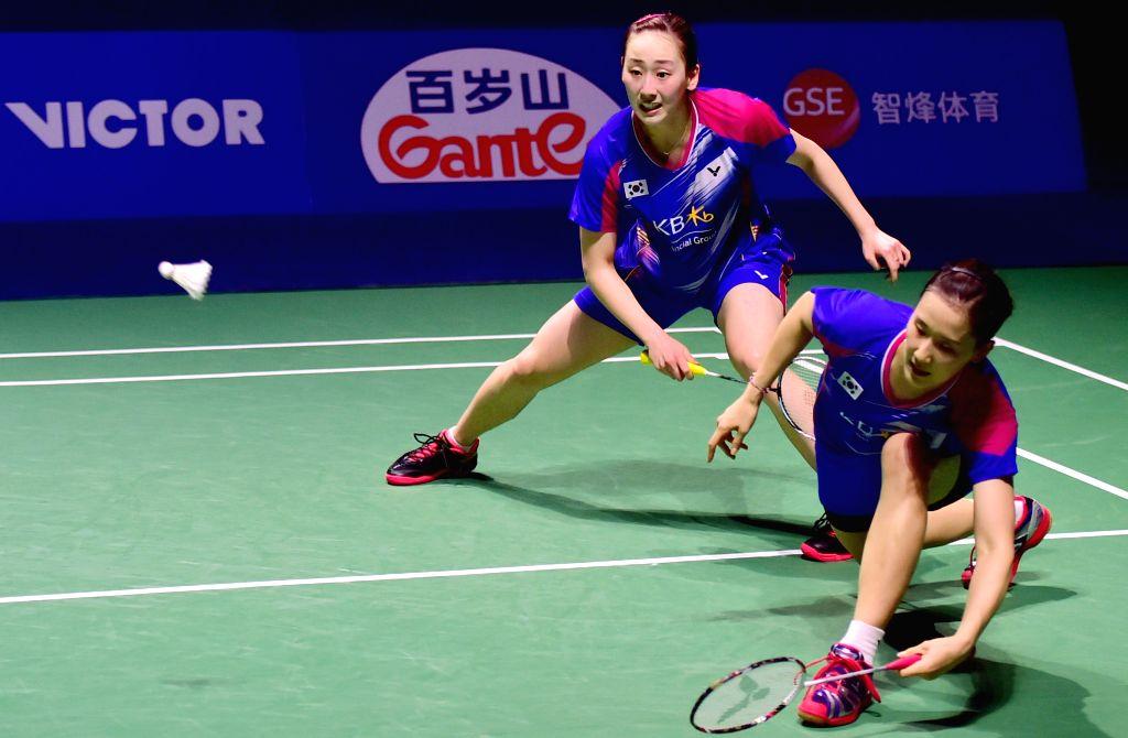 FUZHOU, Nov. 20, 2016 - Chang Ye Na (R) and Lee So Hee of South Korea return the shuttle during the women's doubles final of 2016 China Open Badminton Tournament in Fuzhou, southeast Fujian Province, ...
