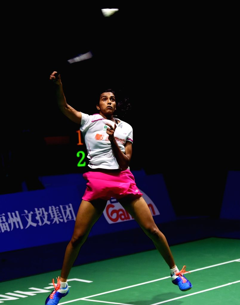 FUZHOU, Nov. 20, 2016 - Pusarl Venkata Sindhu of India celebrates during the women's singles final against Sun Yu of China at the China Open badminton tournament in Fuzhou, capital of southeast ...