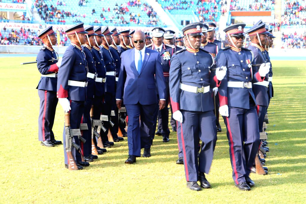 GABORONE, Aug. 3, 2019 - Botswana's President Mokgweetsi Masisi (C) inspects the guard of honor during a celebration in Gaborone, Botswana, on Aug. 3, 2019. Botswana Police Service celebrated its ...
