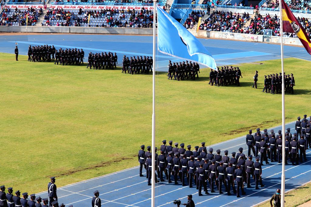 GABORONE, Aug. 3, 2019 - Police officers march during a celebration in Gaborone, Botswana, on Aug. 3, 2019. Botswana Police Service celebrated its 135th anniversary at the National Stadium in ...