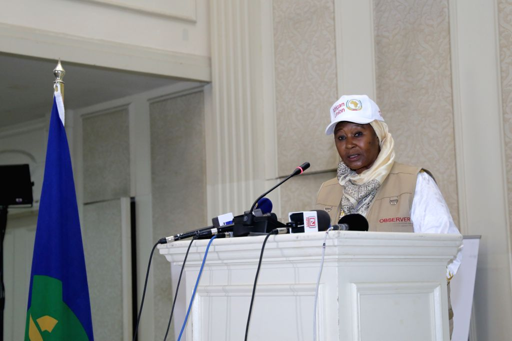 GABORONE, Oct. 25, 2019 - Fatoumata Jallow Tambajang, head of the African Union Election Observation Mission to Botswana general elections and former vice president of Gambia, speaks during the ...