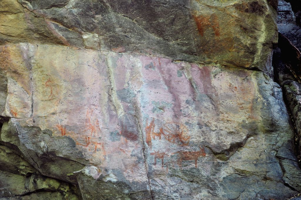 "Photo taken on Nov. 22, 2014 shows rock paintings on the rocks of Tsodilo hills, northwest Botswana. Tsodilo has been called the ""Louvre of the Desert"". Over 4,500 rock paintings ."