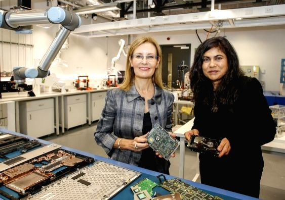 Gabrielle Upton, Minister for the Environment, New South Wales, Australia and UNSW SMaRT Centre Director, Professor Veena Sahajwalla, at the launch of the world's first e-waste microfactory. The ...