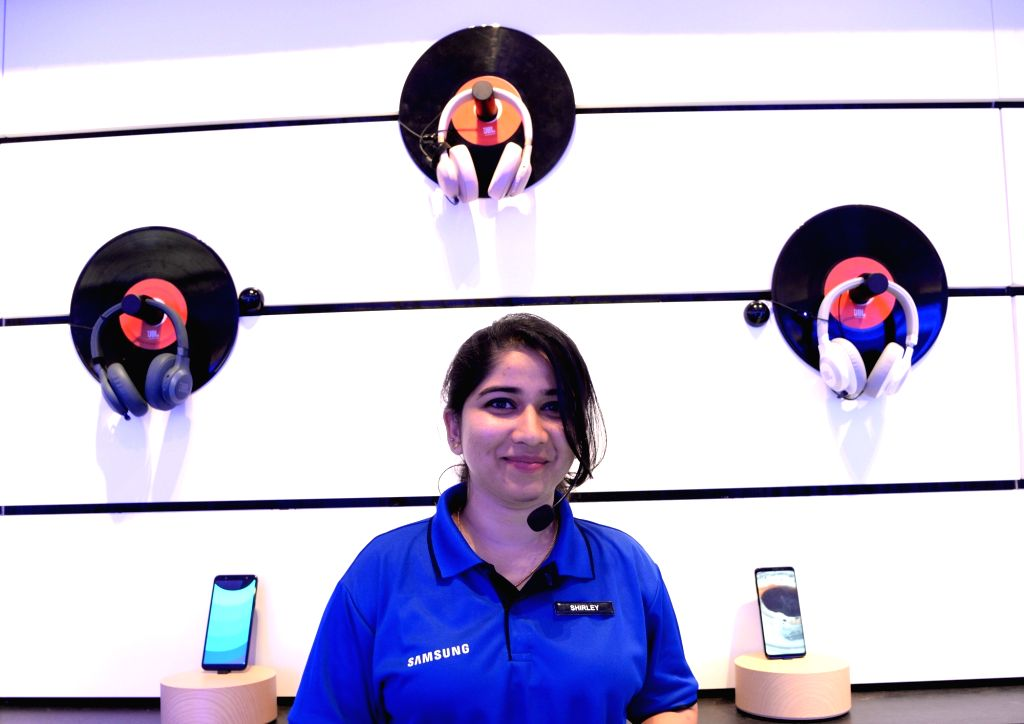 Gadgets on display at Samsung's newly inaugurated largest mobile experience centre, in Bengaluru on Sept 11, 2018.