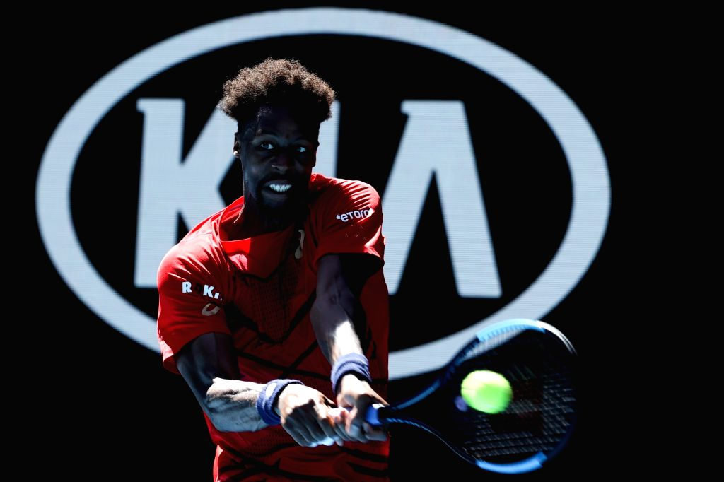 Gael Monfils of France returns the ball during the men's singles third round match against Ernests Gulbis of Latvia at the 2020 Australian Open tennis tournament ...
