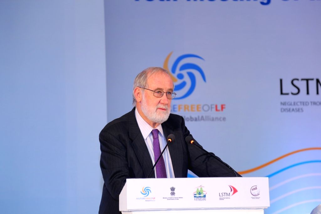 GAELF Steering Group Chair Charles Mackenzie addresses at the meeting of Global Alliance to Eliminate Lymphatic Filariasis (GAELF), in New Delhi on June 13, 2018.
