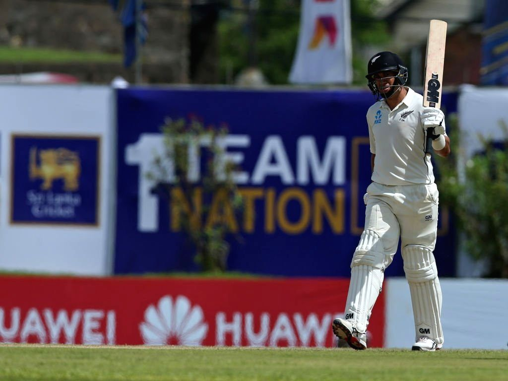 Galle: New Zealand's Ross Taylor celebrates his half century during the 1st Test of ICC World Test Championship between New Zealand and Sri Lanka at Galle International Stadium in Galle, Sri Lanka on Aug 14, 2019. (Photo: Twitter/ICC)