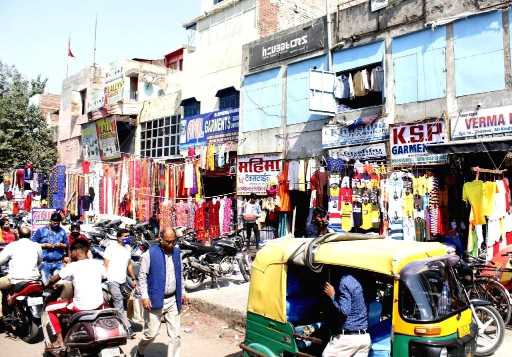 Gandhi Nagar market open on Friday in East Delhi.