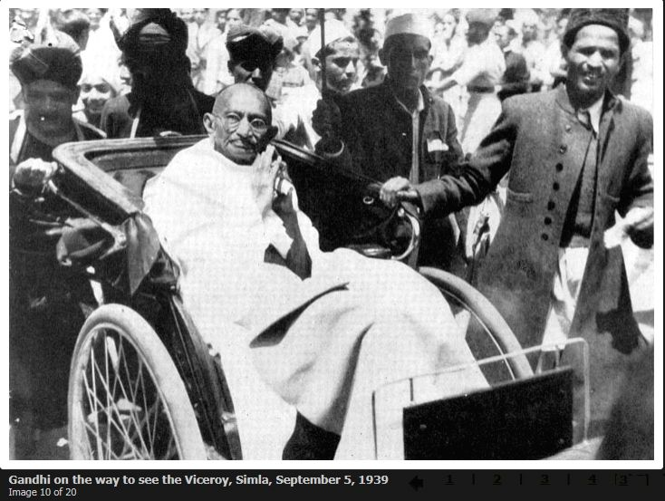 Gandhi on the way to see the Viceroy, Simla, September 5, 1939.