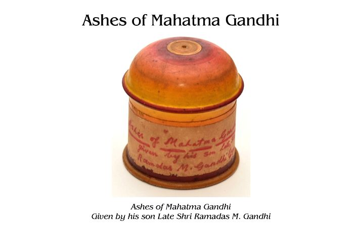 Gandhiji???s ashes, barely 100 gms stored in an urn.